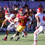 USC QB Cody Kessler scampers for a 2nd Half 1st Down.  The USC Trojans defeated the Fresno State Bulldogs 45-20 at the Royal Purple Las Vegas Bowl, Sam Boyd Stadium, Las Vegas, Nevada.  Photo by Barry Markowitz, <br /> 12/21/13, 3:30pm<br /> 12/21/13, 12:30pm