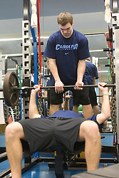 11 January 2008: North Carolina Tar Heels Michael J. Burns spots Jack Ryan during a weights testing session in Chapel Hill, NC.