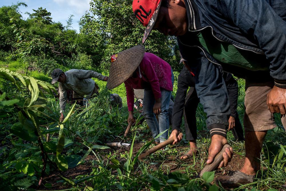 Villagers tend to their hillside fields near Khoc Kham.
