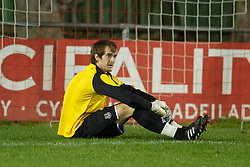 NEWTOWN, WALES - Tuesday, September 14, 2010: Wales' goalkeeper Stephen Cann (Aberystwyth Town) looks dejected as England score the second goal during the Under-23 Semi-Pro International Friendly match at Latham Park. (Photo by David Rawcliffe/Propaganda)