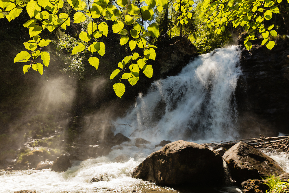 Barbara Falls on the South Fork of Eagle River in Chugach State Park in Southcentral Alaska. Spring. Afternoon.