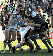 Reading, GREAT BRITAIN, Exiles, Delon ARMITAGE, is held up by Tigers low Johne MURPHY, with Ollie SMITH backing up. during the Guinness Premiership match, London Irish vs Leicester Tigers, played at the Madejski Stadium, on Sun. 17th Feb 2008.  [Mandatory Credit, Peter Spurrier/Intersport-images].....Watford, GREAT BRITAIN, during the Pool 4 Rd 5  Heineken Cup game Saracens vs Biarittz at Vicarage Road, Hert's  26/04/2007  [Photo, Peter Spurrier/Intersport-images].....