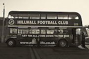 The Millwall bus during the Sky Bet Championship match between Millwall and Bournemouth at The Den, London, England on 28 December 2014. Photo by Matthew Redman.