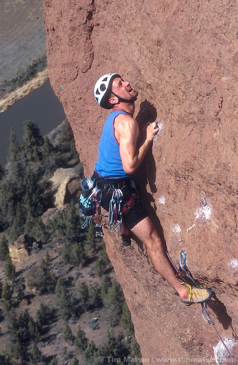 Marshall Balick climbing Monkey Space at Smith Rock, OR.