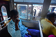 People inside a public bus in Sri Lanka