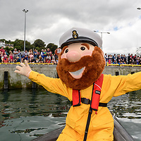 REPRO FREE<br /> RNLI Mascot 'Stormy Stan' entertains the crowds at the RNLI Raft Race in Kinsale on Saturday of the Bank Holiday Weekend<br /> Picture. John Allen