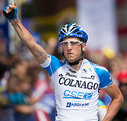 03.07.2012, Osttirol, AUT, 64. Oesterreich Rundfahrt, 3. Etappe, Kitzbuehel - Lienz, im Bild Sacha Modolo (ITA, Platz 1, Colnago - CSF Inox) // first place Colnago - CSF Inox driver Sacha Modolo of Italy  during the 64rd Tour of Austria, Stage 3, from Kitzbuehel to Lienz, Lienz, Austria on 2012/07/03. EXPA Pictures © 2012, PhotoCredit: EXPA/ Johann Groder