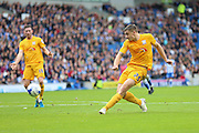 Preston Jordan Hugill shoots at goal during the Sky Bet Championship match between Brighton and Hove Albion and Preston North End at the American Express Community Stadium, Brighton and Hove, England on 24 October 2015. Photo by Phil Duncan.