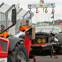 #98 Aston Martin Vantage V8 with Paul Dalla Lana after accident on his 322nd lap where he crashed into the barrier at the Ford Chicane at high speed, Le Mans 24H, 2015