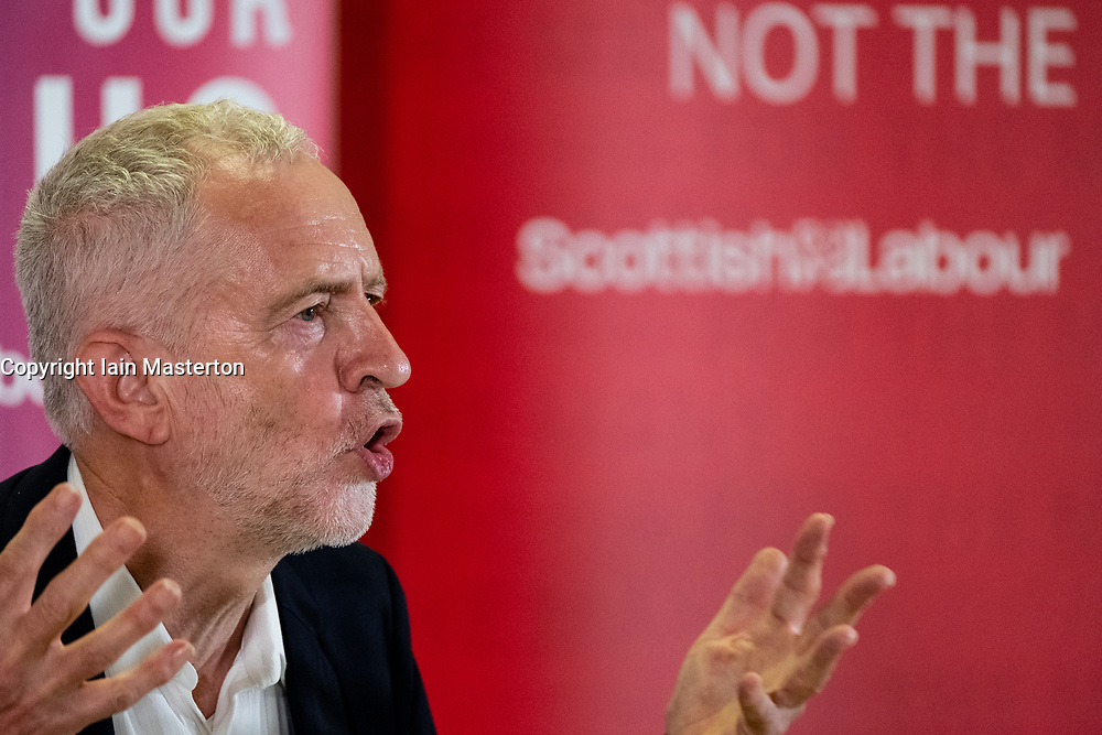 Livingston, Scotland, UK. 29 June, 2018. Labour Leader Jeremy Corbyn makes speech at a rally in Livingston to mark a step up in Scottish Labour's NHS campaigning ahead of the NHS's 70th Birthday.