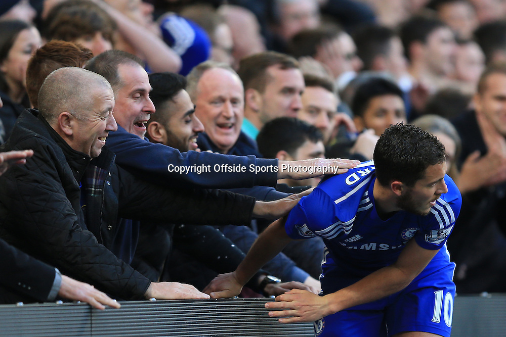 18 April 2015 - Barclays Premier League - Chelsea v Manchester United - Eden Hazard of Chelsea with the Chelsea fans - Photo: Marc Atkins / Offside.