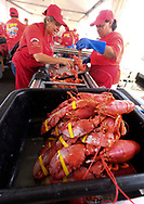 新华社照片,洛杉矶,2017年7月17日<br />     (国际)(14)第十九届年度洛杉矶港口龙虾节<br />     7月16日,厨师正烹饪龙虾。<br />     在美国洛杉矶圣佩德罗,大批民众出席了号称世界上最大龙虾节&quot;第十九届年度洛杉矶港口龙虾节&quot;。<br />     新华社发(赵汉荣摄)<br /> Chef prepare lobsters at the 19th Annual Port of Los Angeles Lobster Festival in San Pedro, California, the United States, Sunday, July 16, 2017. The world&rsquo;s largest lobster festival, which has been a Southern California tradition since 1999. The event features fresh Maine lobster, wine and draft beer, free entertainment, live music, shopping, and other culinary delights. (Xinhua/Zhao Hanrong)(Photo by Ringo Chiu)<br /> <br /> Usage Notes: This content is intended for editorial use only. For other uses, additional clearances may be required.