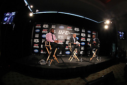 Atlanta, GA - April 18, 2012:  The UFC's Jon Anik (center), along with UFC Light Heavyweight champion Jon Jones (left) and Rashad Evans (right) during the final press conference for UFC 145 at the Park Tavern in Atlanta, Georgia.