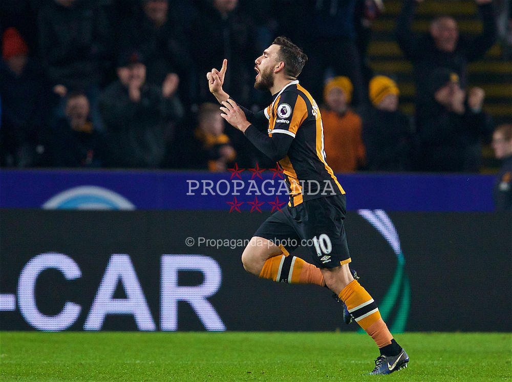 KINGSTON-UPON-HULL, ENGLAND - Friday, December 30, 2016: Hull City's Robert Snodgrass celebrates scoring the second goal from a free-kick against Everton during the FA Premier League match at the KCOM Stadium. (Pic by David Rawcliffe/Propaganda)