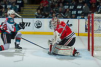 KELOWNA, CANADA - APRIL 8: Cole Kehler #31 of the Portland Winterhawks makes a save on a shot by Nick Merkley #10 of the Kelowna Rockets on April 8, 2017 at Prospera Place in Kelowna, British Columbia, Canada.  (Photo by Marissa Baecker/Shoot the Breeze)  *** Local Caption ***