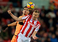 STOKE-ON-TRENT, ENGLAND - Wednesday, November 29, 2017: Liverpool's 2Dominic Solanke and Stoke City's Darren Fletcher during the FA Premier League match between Stoke City and Liverpool at the  Bet365 Stadium. (Pic by David Rawcliffe/Propaganda)