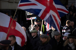 © London News Pictures. 26/02/2014. London, UK.  Veterans and supporters of far right groups  gather outside the Old Bailey in London where Michael Adebolajo and Michael Adebowale are due to be sentenced for the murder of Fusilier Lee Rigby who was attacked near Woolwich Barracks in south-east London on May 22, 2013. Photo credit: Ben Cawthra/LNP