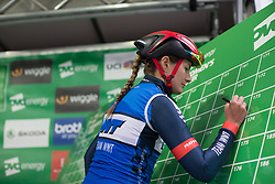 Hayley Jones (GBR) of Team WNT signs on before Stage 2 of the OVO Energy Women's Tour - a 144.5 road race, starting and finishing in Stoke-on-Trent on June 8, 2017, in Staffordshire, United Kingdom. (Photo by Balint Hamvas/Velofocus.com)