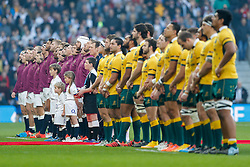 England and Australia line up for the anthems before the match - Photo mandatory by-line: Rogan Thomson/JMP - 07966 386802 - 29/11/2014 - SPORT - RUGBY UNION - London, England - Twickenham Stadium - England v Australia - QBE Autumn Internationals.