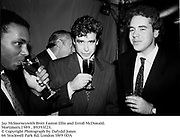 Jay McInerneywith Brett Easton Ellis and Erroll McDonald.<br /> Mortimers.1989 . 89393f23.<br /> © Copyright Photograph by Dafydd Jones<br /> 66 Stockwell Park Rd. London SW9 0DA<br /> Tel 0171 733 0108