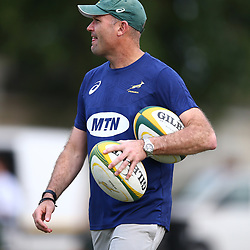 DURBAN, SOUTH AFRICA - AUGUST 13: Jacques Nienaber (Defence Coach) of South Africa during the South African national rugby team training session at  Jonsson Kings Park on August 13, 2018 in Durban, South Africa. (Photo by Steve Haag/Gallo Images)