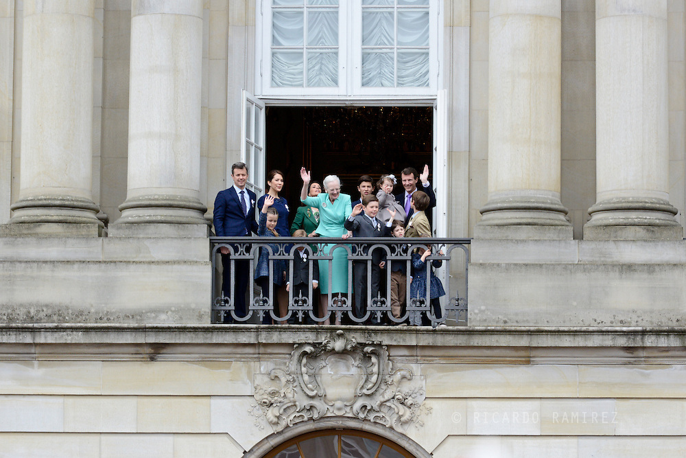 16.04.2015. Copenhagen, Denmark.Queen Margrethe II celebrates her 75th birthday with her whole family, From left to right, Crown Prince Frederik,, Princess Isabella, Crown Princess Mary, Prince Vincent, Prince Christian, Prince Nikolai, Princess Athena held by her father Prince, Prince Felix and Princess Josephine on a balcony at Amalienborg Palace.Photo:© Ricardo Ramirez