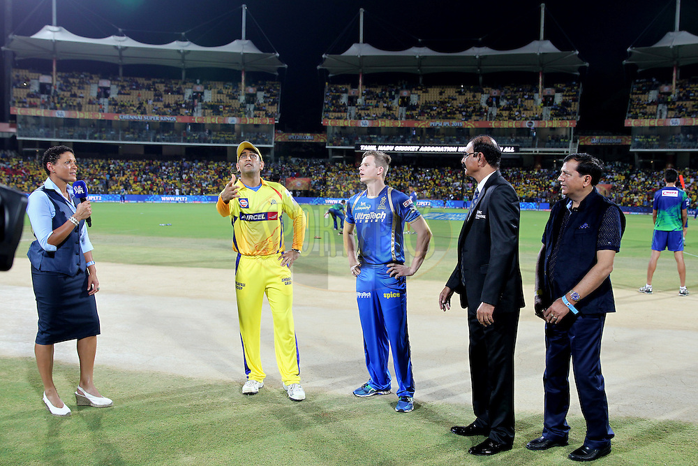 Mahendrasingh Dhoni captain of Chennai Super Kings during toss of match 47 of the Pepsi IPL 2015 (Indian Premier League) between The Chennai Superkings and The Rajasthan Royals held at the M. A. Chidambaram Stadium, Chennai Stadium in Chennai, India on the 10th May 2015.Photo by:  Prashant Bhoot / SPORTZPICS / IPL