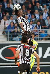 May 4, 2018 - Gent, BELGIUM - Charleroi's Mamadou Fall fights for the ball during the Jupiler Pro League match between KAA Gent and Sporting Charleroi, in Gent, Friday 04 May 2018, on day seven (out of ten) of the Play-Off 1 of the Belgian soccer championship. BELGA PHOTO KURT DESPLENTER (Credit Image: © Kurt Desplenter/Belga via ZUMA Press)
