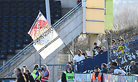 Fotball Menn Eliteserien Rosenborg-Strømsgodset<br /> Lerkendal Stadion, Trondheim<br /> 22 april 2019<br /> <br /> Strømsgodsets supportere med flagg<br /> <br /> <br /> Foto : Arve Johnsen, Digitalsport