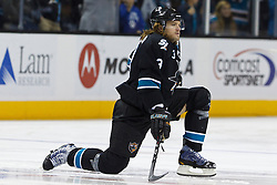 Dec 1, 2011; San Jose, CA, USA; San Jose Sharks defenseman Douglas Murray (3) warms up before the game against the Montreal Canadiens at HP Pavilion.  San Jose defeated Montreal 4-3 in shootouts. Mandatory Credit: Jason O. Watson-US PRESSWIRE