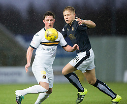 Dumbarton's Jordan Kirkpatrick and Falkirk's Peter Grant. <br /> Half time : Falkirk 1 v 0 Dumbarton, Scottish Championship game played 26/12/2015 at The Falkirk Stadium.
