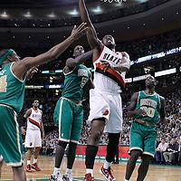09 March 2012:  Portland Trailblazers guard Wesley Matthews (2) goes for the layup past Boston Celtics power forward Kevin Garnett (5) during the Boston Celtics 104-86 victory over the Portland Trail Blazers at the TD Banknorth Garden, Boston, Massachusetts, USA.