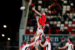 Bristol Rugby replacement Glen Townson wins a lineout - Mandatory byline: Rogan Thomson/JMP - 13/11/2015 - RUGBY UNION - Kingspan Stadium - Belfast, Northern Ireland - Ulster Ravens v Bristol Rugby - The British & Irish Cup Pool 2.