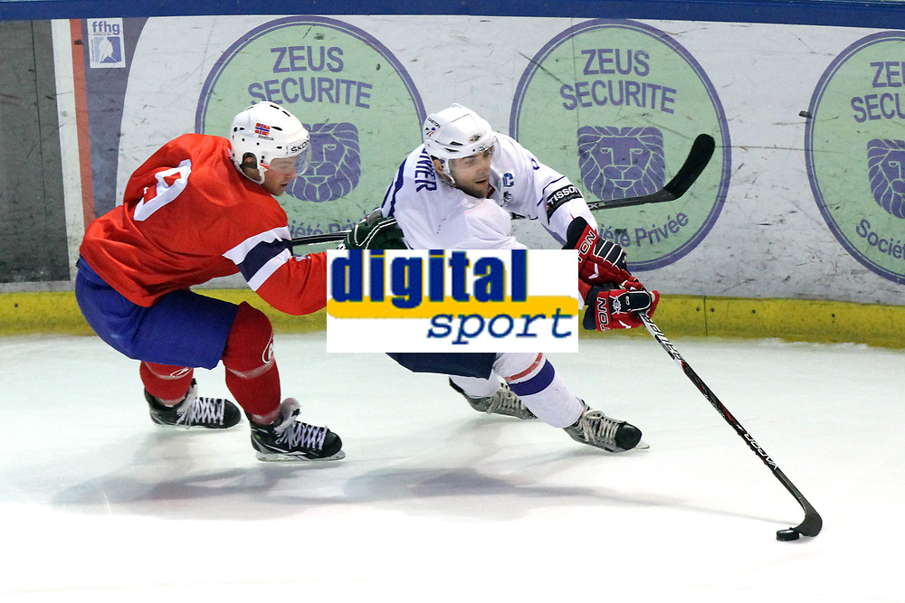 ICE HOCKEY - FRIENDLY GAME - FRANCE V NORWAY - LYON (FRA) - 11/11/2011 - PHOTO : EDDY LEMAISTRE / DPPI -  LAURENT MEUNIER (FRA) AND MARIUS HOLTET  (NOR)