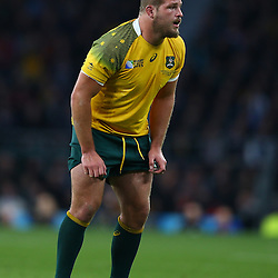 LONDON, ENGLAND - OCTOBER 18: James Slipper of Australia during the Rugby World Cup Quarter Final match between Australia v Scotland at Twickenham Stadium on October 18, 2015 in London, England. (Photo by Steve Haag)