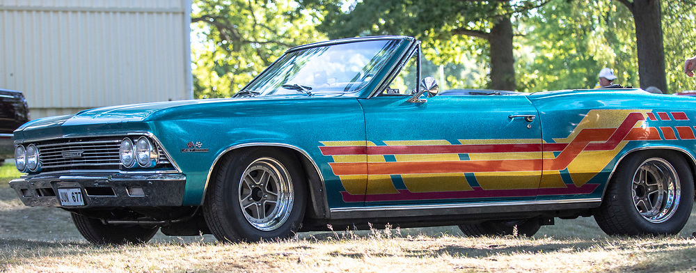 2018-07-04 | Huskvarna, Sweden: A 1966 Chevrolet Malibu during the car meet in Huskvarna Folkets Park ( Photo by: Marcus Vilson | Swe Press Photo )<br /> <br /> Keywords: , Huskvarna, Huskvarna Folkets Park, Camaro, Corvette, Cars, Power, Muscle, Enthusiast, Motor, Engine, People, USA, Sweden, Chevrolet