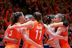 10–01-2020 NED: Olympic qualification tournament women Netherlands - Poland, Apeldoorn<br /> The Dutch volleyball players lost the third group match of the OKT in Apeldoorn 3-1 against Poland / Britt Bongaerts #12 of Netherlands, Nika Daalderop #19 of Netherlands