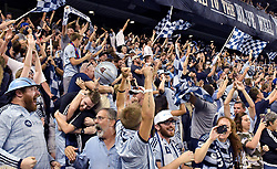 Sporting Kansas City fans celebrate after Sporting won on penalty kicks against the San Jose Earthquakes in the U.S. Open Cup semifinals at Children's Mercy Park in Kansas City, Kan., on Wednesday, Aug. 9, 2017. Sporting KC advanced on penalty kicks, 5-4, after the teams tied, 1-1, in regulation. (Photo by John Sleezer/Kansas City Star/TNS/Sipa USA) *** Please Use Credit from Credit Field ***