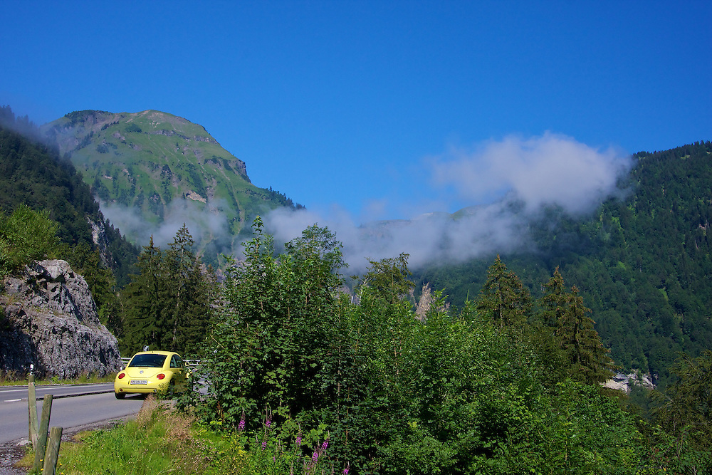 Yellow Beetle, Green Mountains and heading into the clouds - perfect day for a drive!