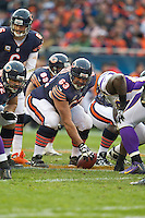 25 November 2012: Center (63) Roberto Garza of the Chicago Bears lines up against the Minnesota Vikings during the second half of the Bears 28-10 victory over the Vikings in an NFL football game at Soldier Field in Chicago, IL.
