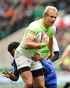 LONDON, ENGLAND - Sunday 11 May 2014, Philip Snyman of South Africa during the Plate semi final match between South Africa and Samoa at the Marriott London Sevens rugby tournament being held at Twickenham Rugby Stadium in London as part of the HSBC Sevens World Series.<br /> Photo by Roger Sedres/ImageSA