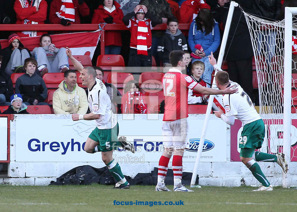 Picture by MIchael Sedgwick/Focus Images Ltd. 07900 363072.18/02/12.Darren Purse of Plymouth Argyle celebrates scoring the third goal against Accrington Stanley during the Npower League 2 match at the Crown Ground, Accrington.