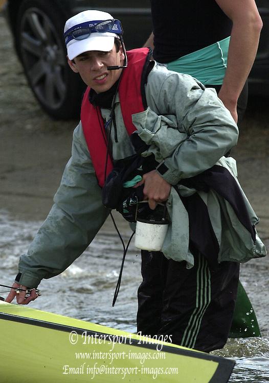 2003 - Rowing - 149th Varsity Boat Race - Tideway Week <br /> 03/04/03  - Cambridge Blue Boat.  cox  Jim Omartian.  [Mandatory Credit; Peter Spurrier/Intersport Images]