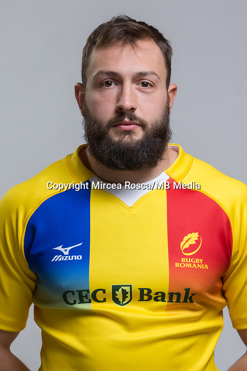 CLUJ-NAPOCA, ROMANIA, FEBRUARY 27: Romania's national rugby player Vlad Nistor pose for a headshot, on February 27, 2018 in Cluj-Napoca, Romania. (Photo by Mircea Rosca/Getty Images)