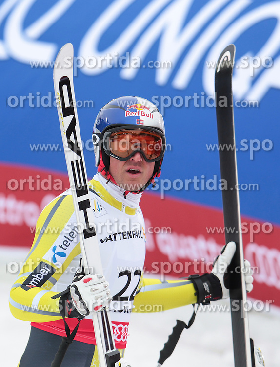 06.02.2013, Planai, Schladming, AUT, FIS Weltmeisterschaften Ski Alpin, Suber G, Herren, im Bild Aksel Lund Svindal (NOR, 3. Platz) // 3th place Aksel Lund Svindal of Norway reacts after his run of mens SuperG during FIS Ski World Championships 2013 at the Planai Course, Schladming, Austria on 2013/02/06. EXPA Pictures © 2013, PhotoCredit: EXPA/ Sammy Minkoff