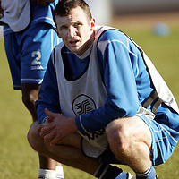St Johnstone Training...02.02.07<br />Ex Falkirk playerAndy Lawrie takes a breather during training this morning before facing his old side in tomorrow's Scottish Cup tie<br />see story by Gordon Bannerman Tel: 01738 553978 or 07729 865788<br />Picture by Graeme Hart.<br />Copyright Perthshire Picture Agency<br />Tel: 01738 623350  Mobile: 07990 594431