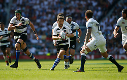 Stuart Hogg of Barbarians is marked by Danny Cipriani of England - Mandatory by-line: Ryan Hiscott/JMP - 27/05/2018 - RUGBY - Twickenham Stadium - London, England - England v Barbarians - Quilter Cup
