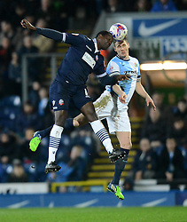 Blackburn Rovers's Matthew Kilgallon goes up for a header with Bolton Wanderers' Emile Heskey  Photo mandatory by-line: Richard Martin-Roberts/JMP - Mobile: 07966 386802 - 11/03/2015 - SPORT - Football - Blackburn - Ewood Park - Blackburn Rovers v Bolton Wanderers - Sky Bet Championship