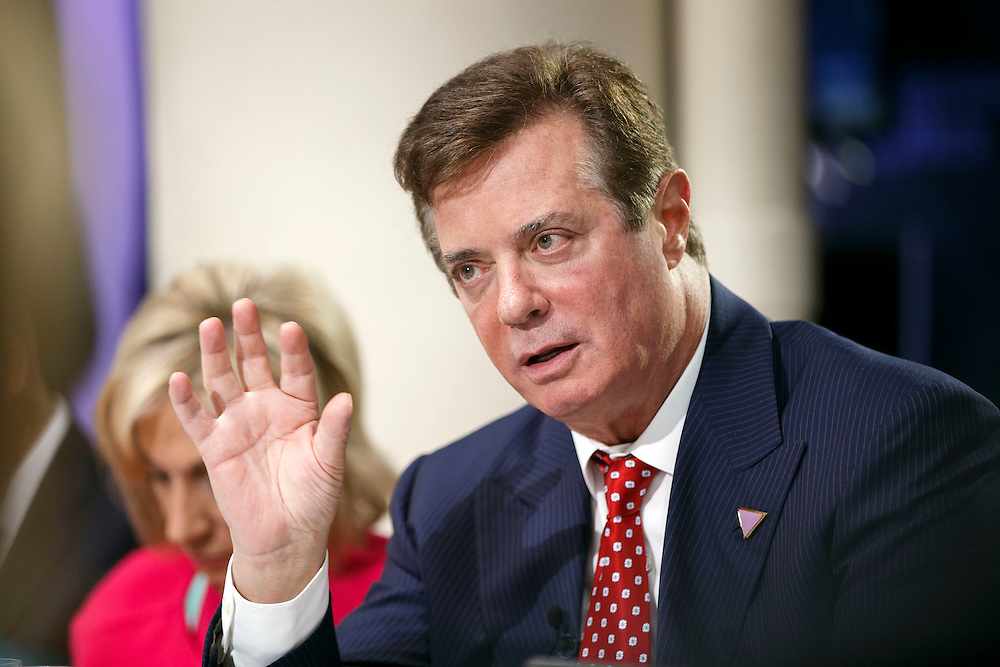 Paul Manafort, campaign manager for Donald Trump, presumptive 2016 Republican presidential nominee, speaks during a Bloomberg Television interview at the Republican National Convention (RNC) in Cleveland, Ohio, U.S., on Monday, July 18, 2016.  © 2016 Patrick T. Fallon