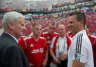 "(L) Former President of Polish Football Association Michal Listkiewicz before demonstration match of the Special Olympics as part of the Respect Inclusion ""Football With No Limits"" before the UEFA EURO 2012 Quarterfinal football match between Portugal and Czech Republic at National Stadium in Warsaw on June 21, 2012...Poland, Warsaw, June 21, 2012..Picture also available in RAW (NEF) or TIFF format on special request...For editorial use only. Any commercial or promotional use requires permission...Photo by © Adam Nurkiewicz / Mediasport"